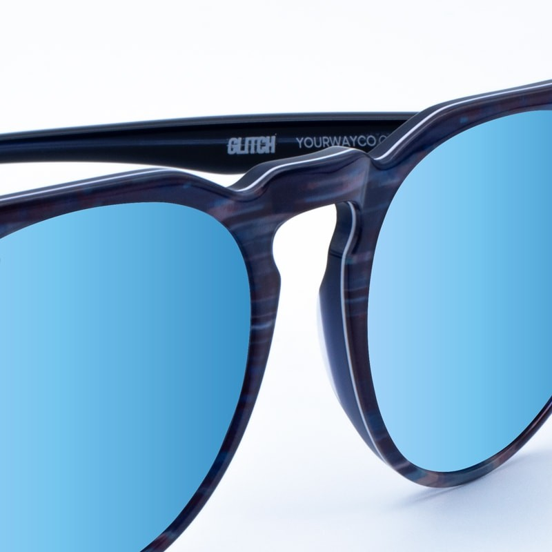Gafas de sol uv400 Glitch White Blue Mirror yourway